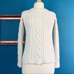Madewell cream cable knit merino wool sweater XS